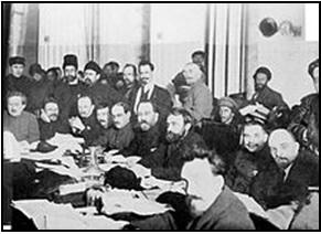 Versammlung der bolschewistischen Partei.
