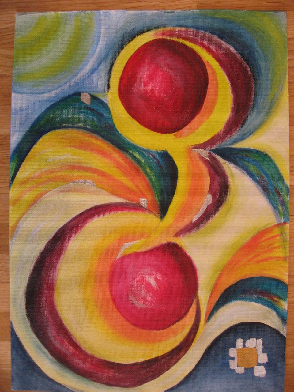 """""""Rote Früchte"""", Acryl auf Papier"""