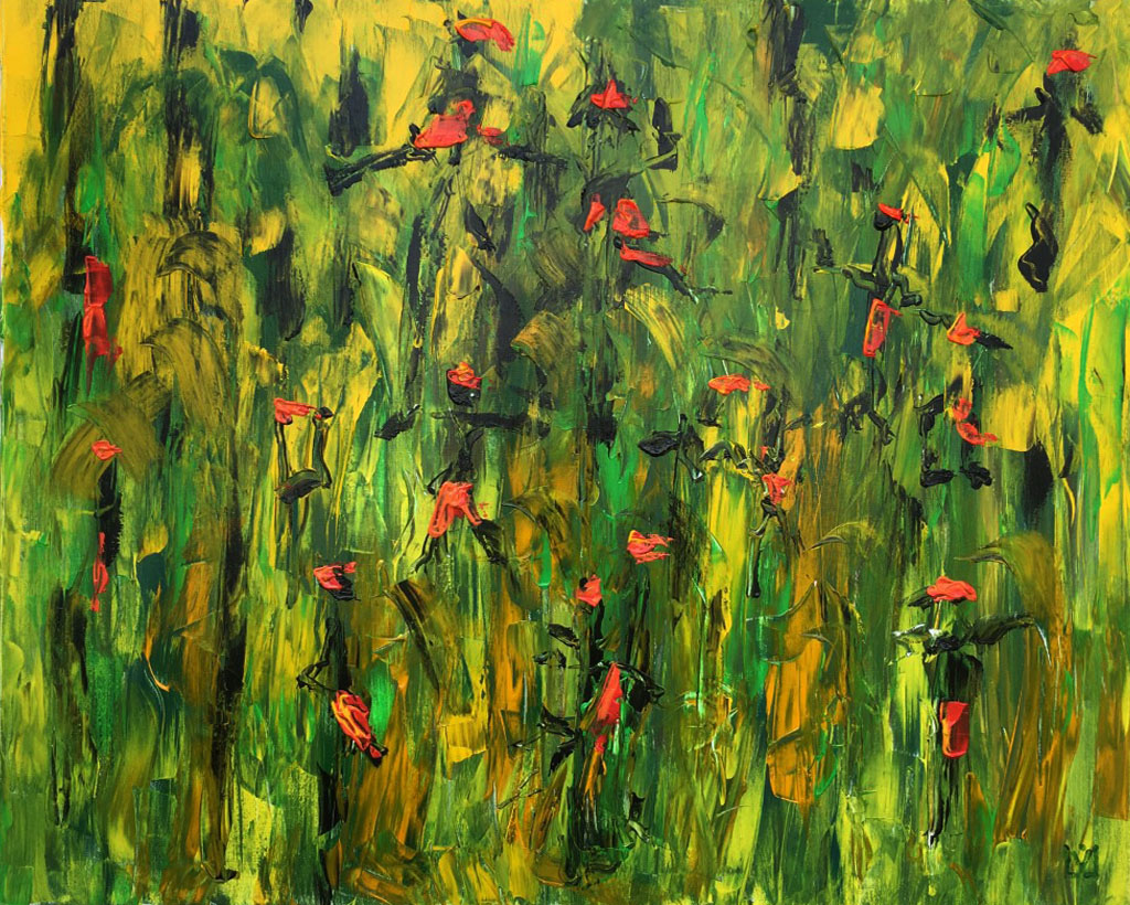dancing in the jungle 80 x 100 cm Acryl auf Leinwand im Besitz von Frauke Wolf, Chemnitz