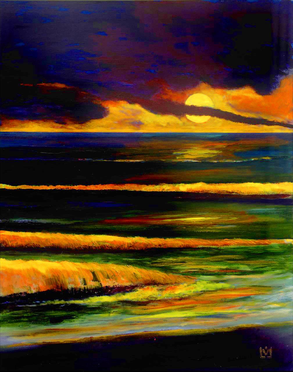 Nacht am Meer  100 x 80 cm Acryl auf Leinwand im Besitz von Heike Beutel und Harald Gieche, Köln