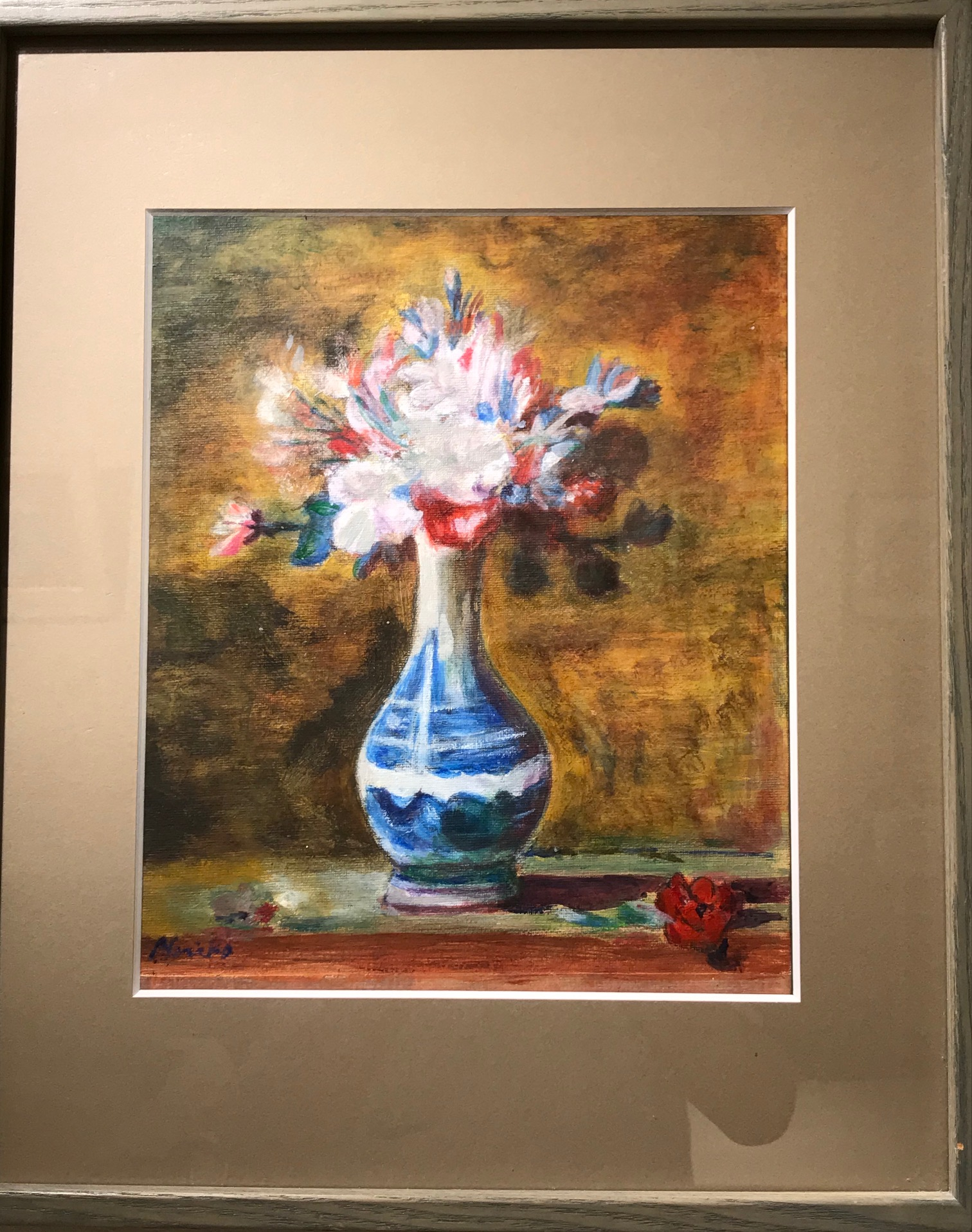 情野伯子「シャルダン『白い花瓶の花』より」F4