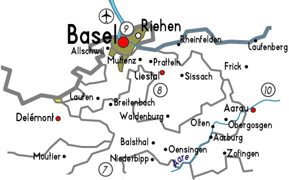 Mapa zona ciudad de Basel