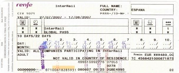 Interrail Global Pass 10dias/22dias