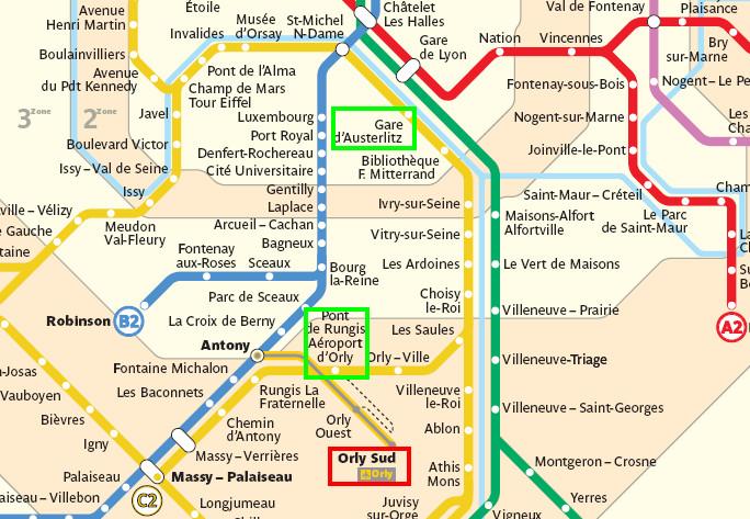 Ruta aeropuerto de Orly - Paris Austerlitz