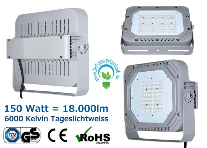 LED Fluter, Strahler, 150W, tageslichtweiss, silber, TüV