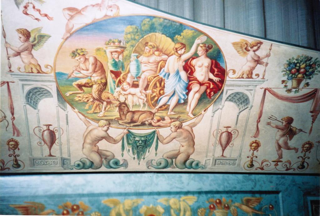 Cembalo italiano, dettaglio (costr. Ugo Casiglia, 1991  - decorato da Cor  Veerbom)
