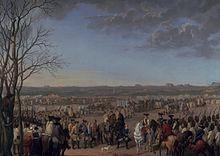 """Par Hyacinthe de La Pegna, """"Le bataillon prussien Finck met bas les armes après la bataille de Maxen le 21 novembre 1759""""."""