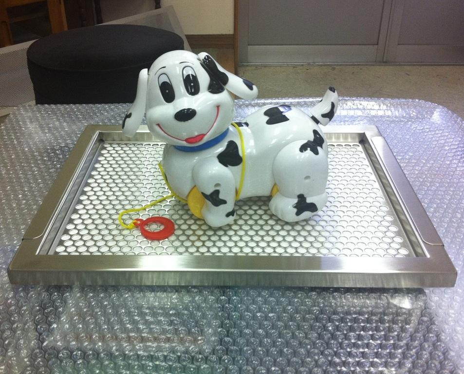 犬用ステンレス製トイレトレイ(特注品・段付きタイプのレギュラーサイズ)