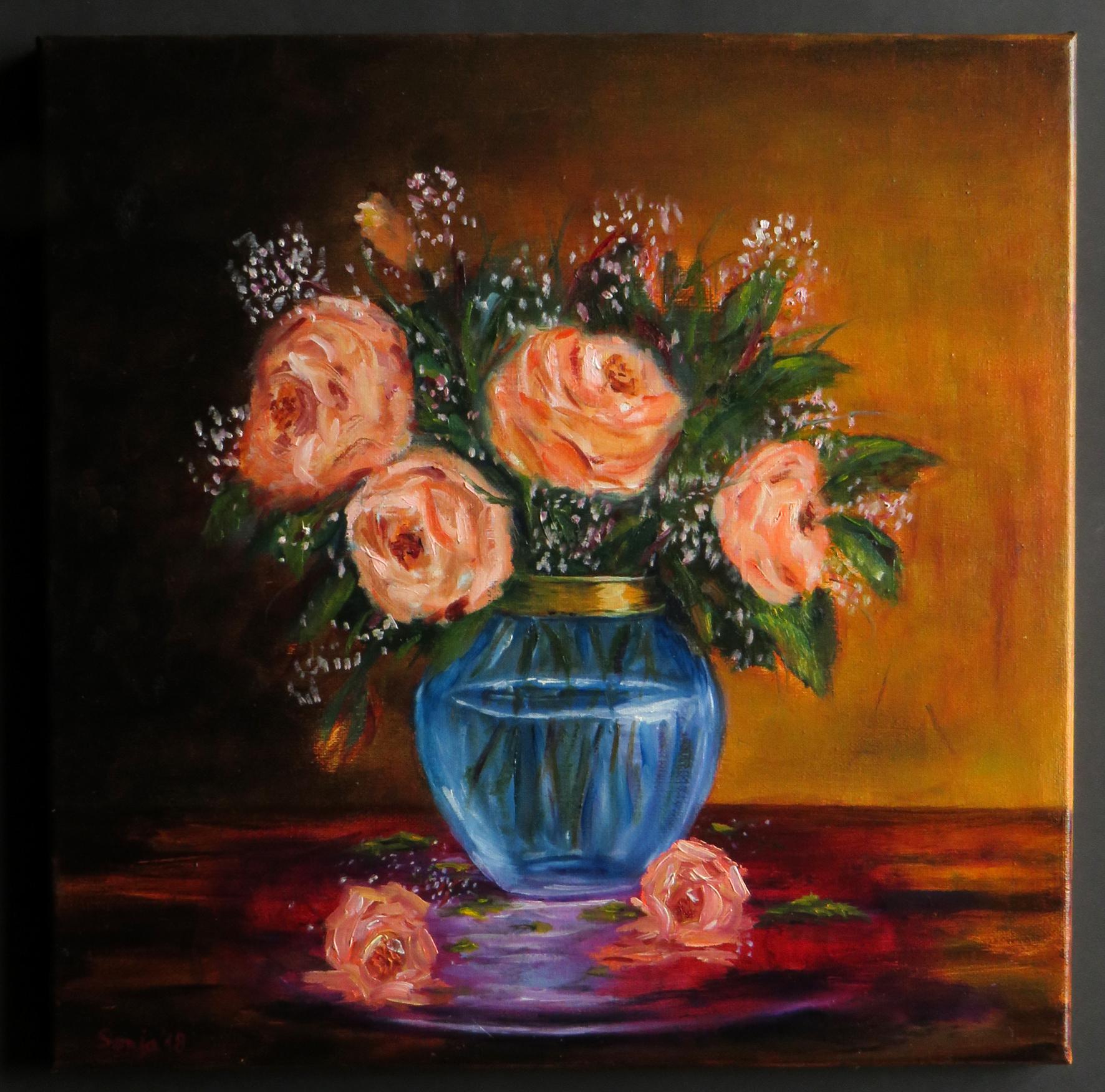"""""""Blaue Vase mit Goldrand"""", Öl auf Leinwand, 40 x 40 cm"""