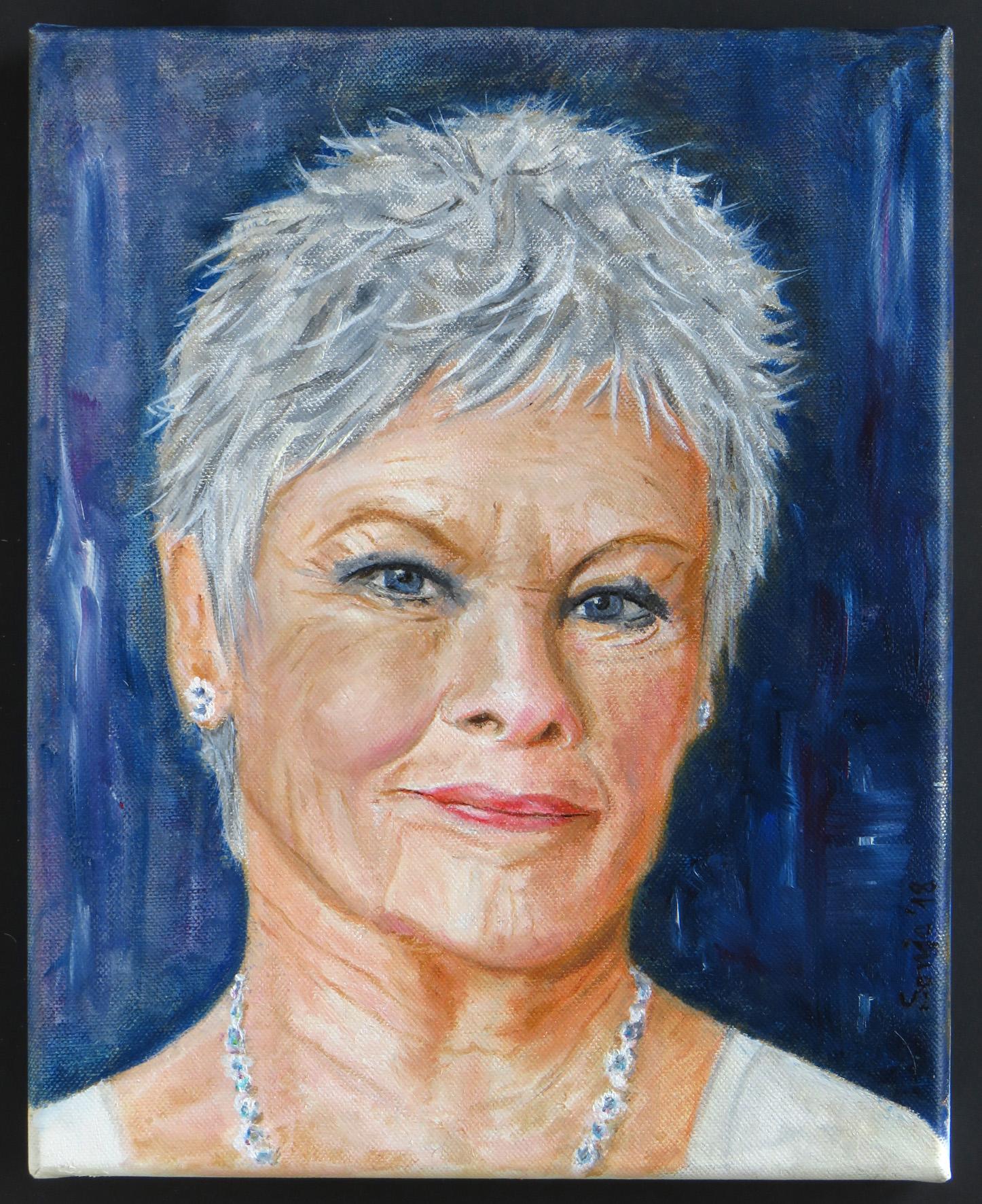 """""""Judi Dench"""", Acryl auf Leinwand, 24 x 30 cm"""