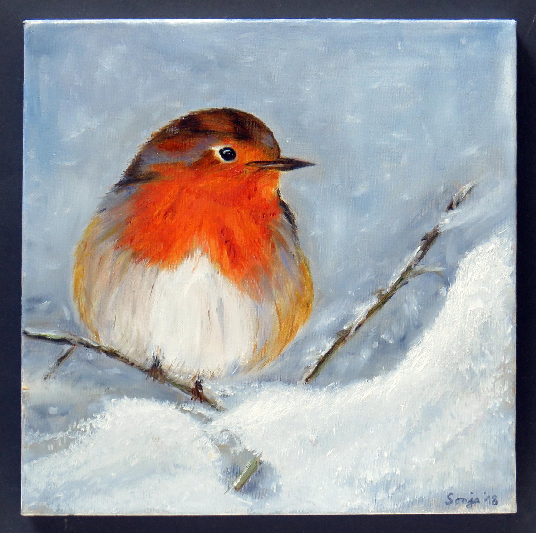 """""""Winter-Rotkehlchen"""", Öl auf Leinwand, 30 x 30 cm"""