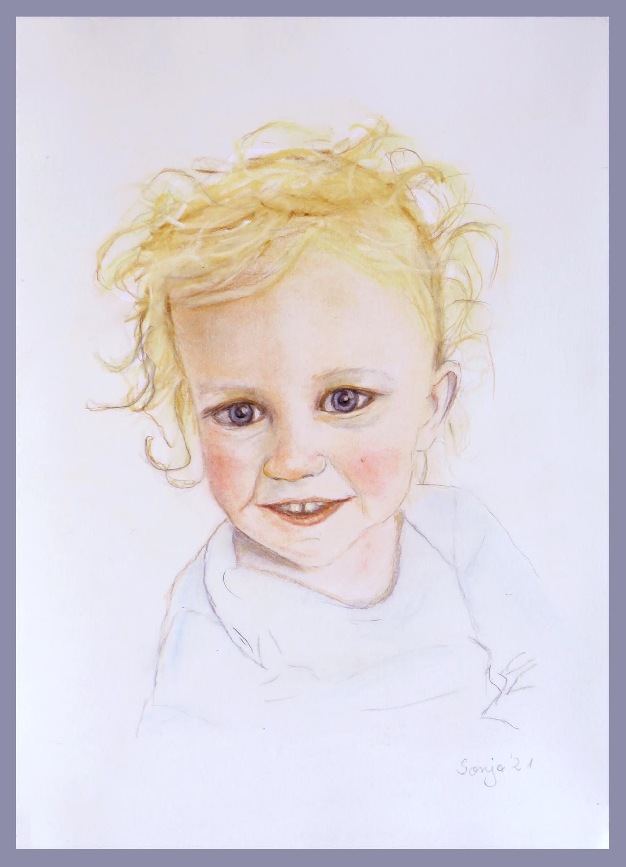 """""""Kleinkind"""", Pastell auf Karton, 21 x 29,7 cm"""