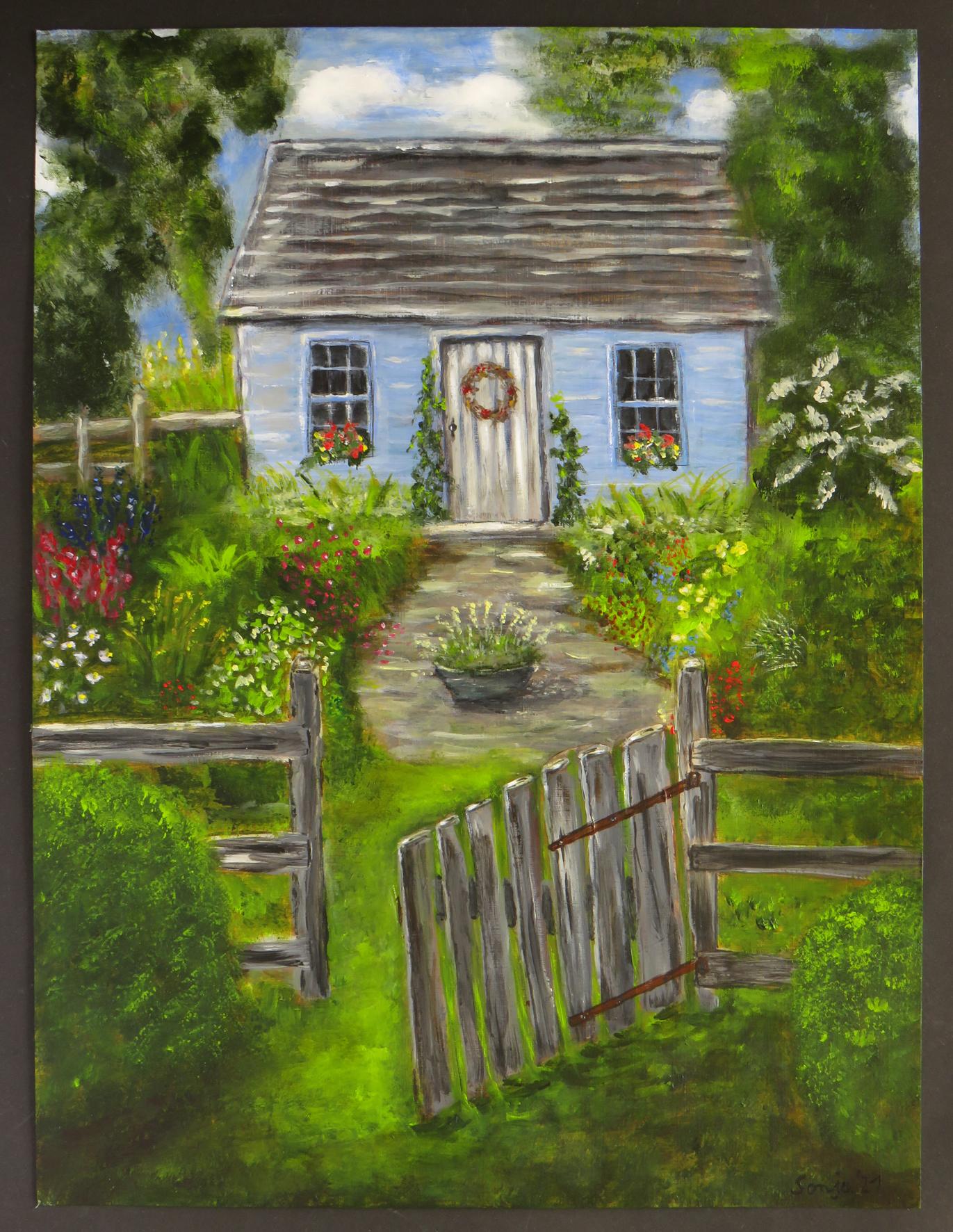 """""""Im Garten"""", Acryl auf Malkarton, 30 x 40 cm"""