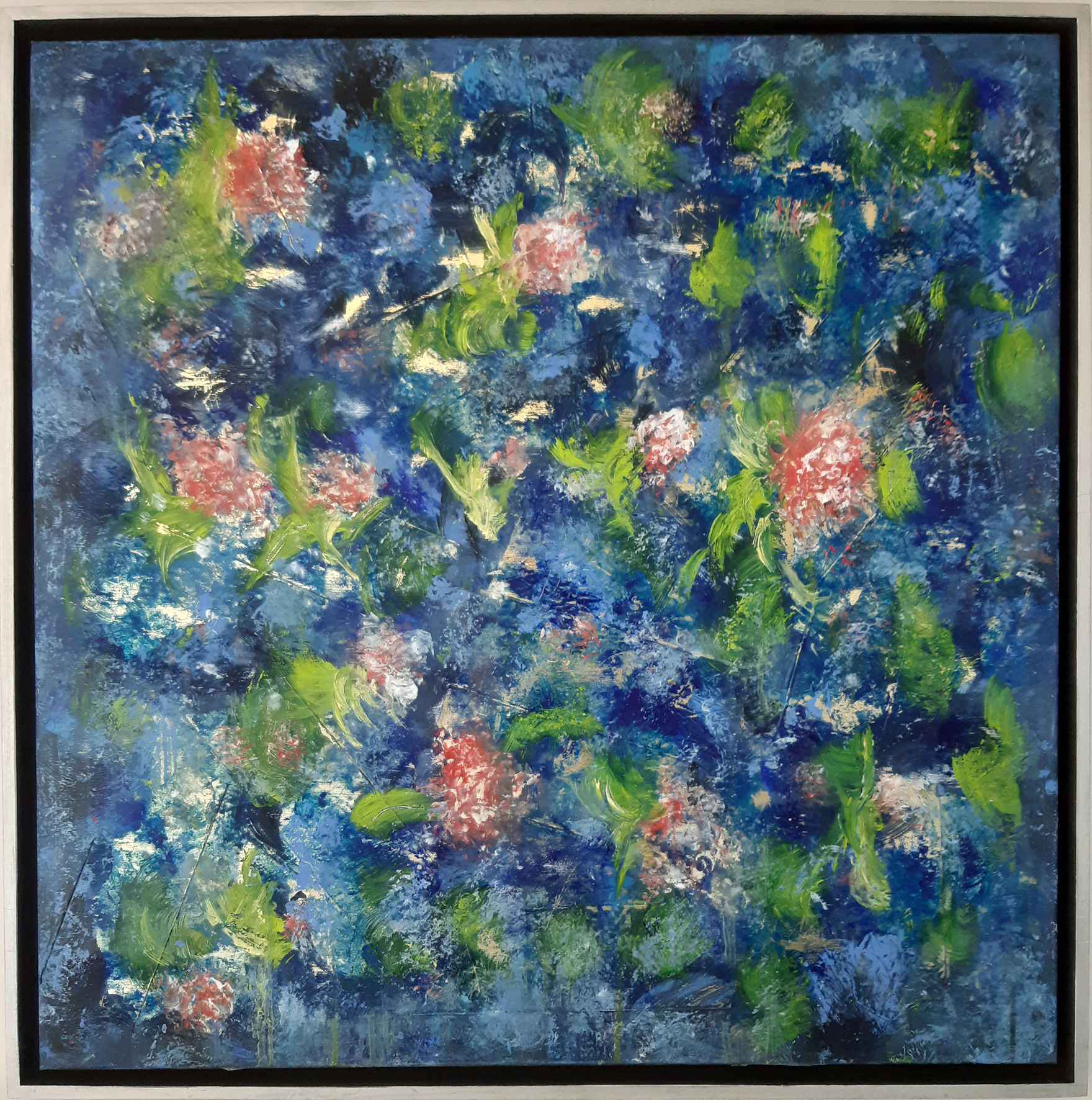 """Blütenwind"", Acryl auf Leinwand und Goldfolie 80 x 80 cm"