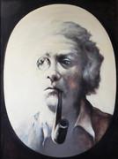 Autoportrait à la pipe et au monocle, 1984 (huile sur bois, 110 x 80 cm, coll. part. GR)