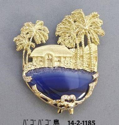 14-2-1185 パゴパゴ島(K18ブローチ兼ペンダント:結晶ブルーメノー,ダイヤ0.47ct)