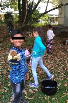 Kinder beim Kastanien Sammeln