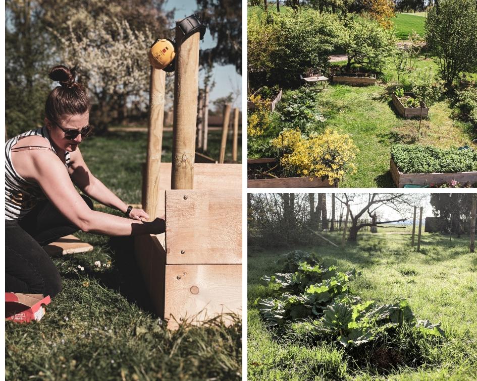 Selbst ist die Frau-Steffi beim Hochbeetbau (links). Bauerngarten heute (rechts oben) und vor einem Jahr (rechts unten).