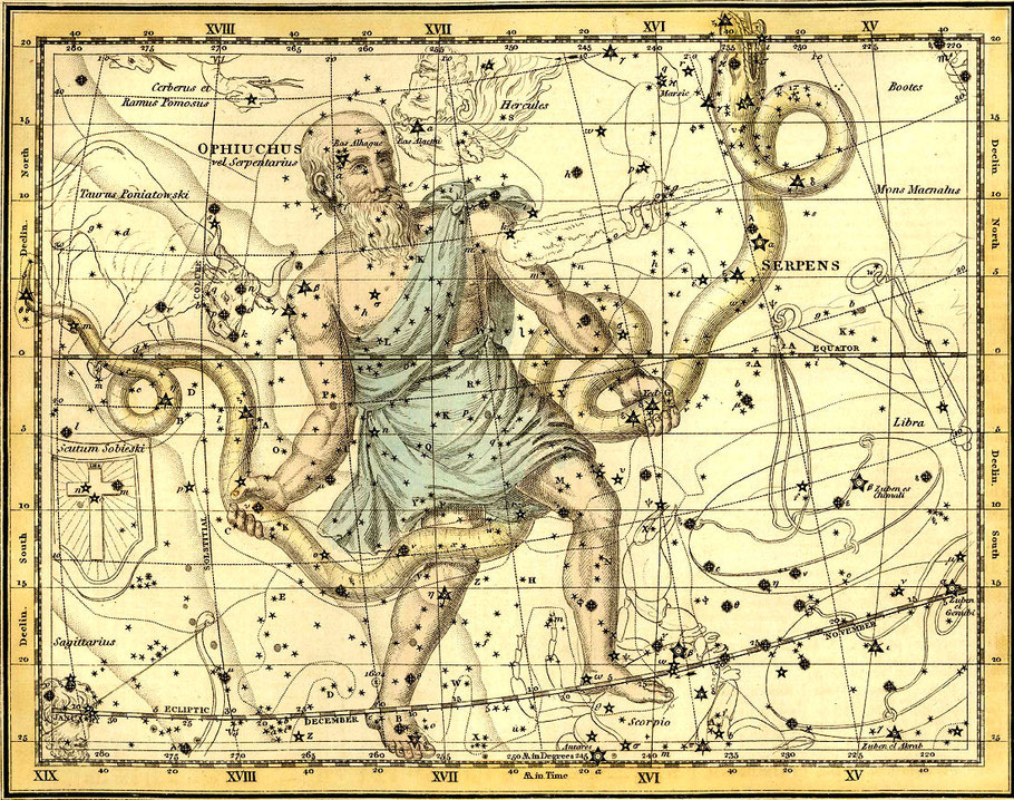 Ophiuchus or Serpentarius, from 'A Celestial Atlas', pub. in 1822