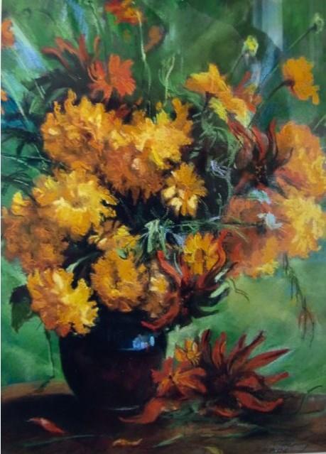Fleurs cueillies dans le jardin 40x30