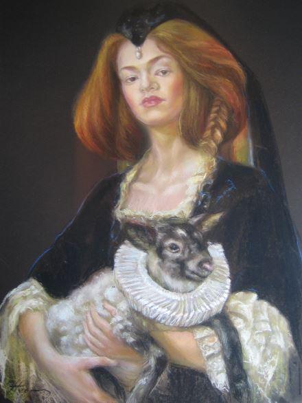 Femme agneau 50x60