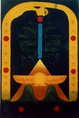 El circulo de Ra - Oleo 150x100 (1993) - Daniel Dankh