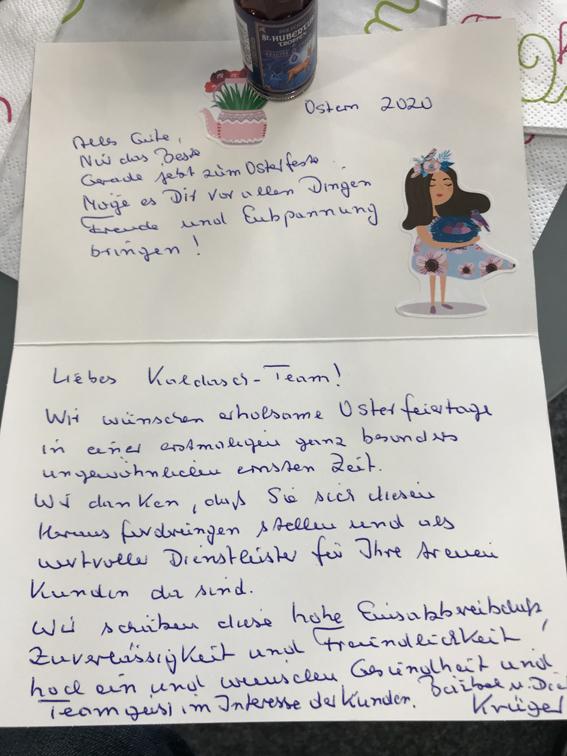 Ein Brief mit Ostergrüßen an EP Kaldasch.