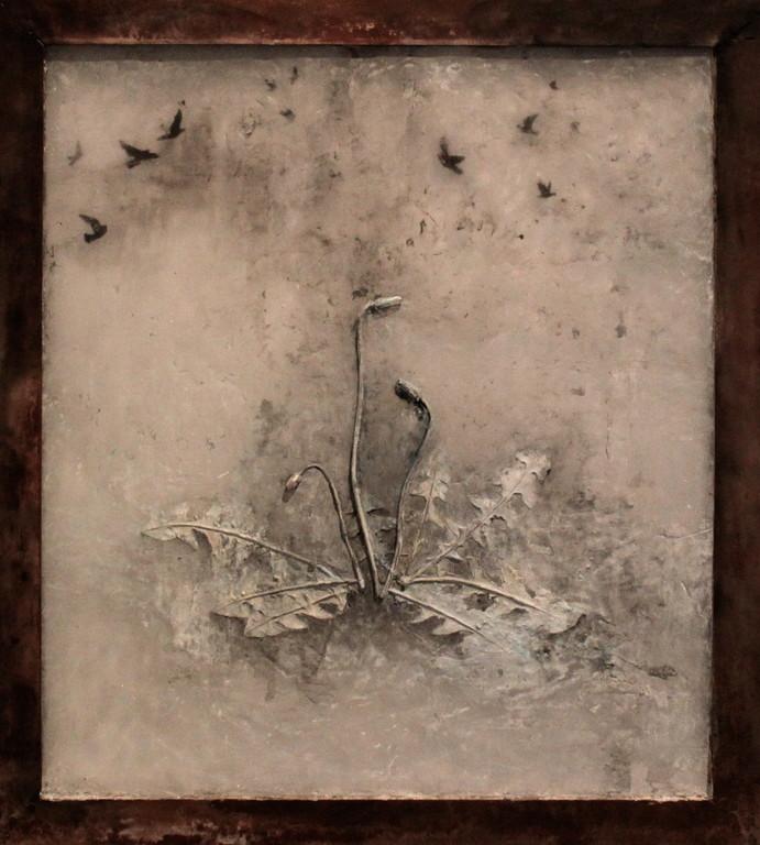 Spring night, 2010  73×66×3cm  Kiln cast, Painted, Japanese ink, Watercolor, Metal