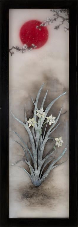 Pray for Japan-Requiem, 2011  130×45×3cm  Kiln cast, Painted, Japanese ink, Watercolor, Printmaking, Metal