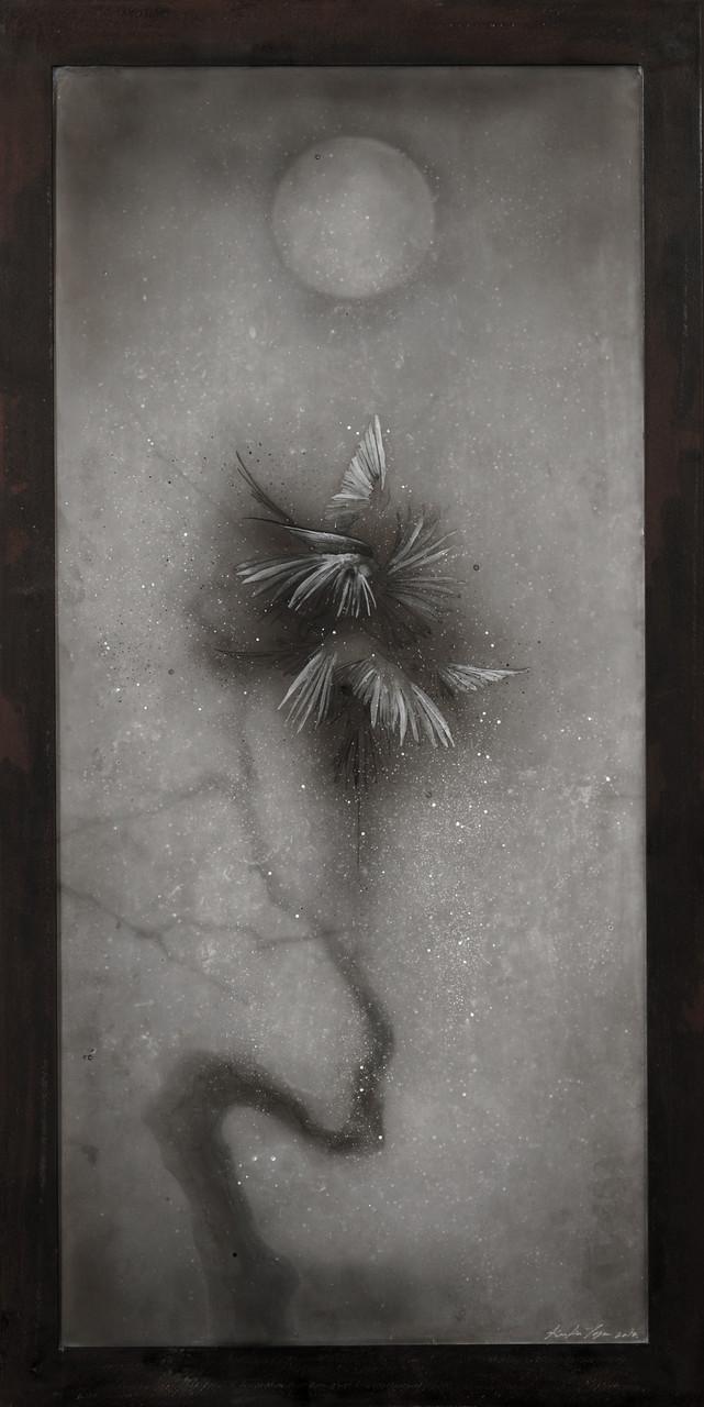 Moonlight, 2014/ 90cm×56cm×5cm/ Kiln cast, Painted, Ink, Metal frame