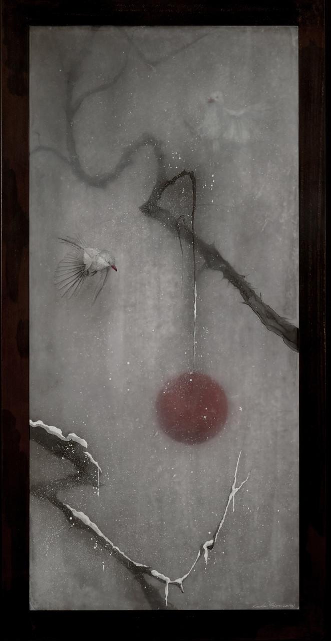 Snow Veil, 2014/ 90cm×56cm×5cm/ Kiln cast, Painted, Ink, Metal frame