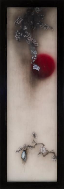 Pray for Japan-Resurrection, 2011  130×45×3cm  Kiln cast, Painted, Japanese ink, Watercolor, Printmaking, Metal
