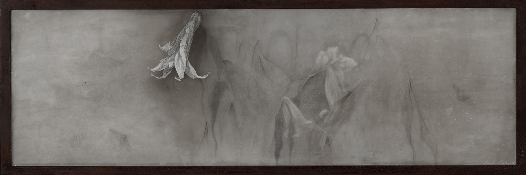 Predawn Stillness, 2014/ 34cm×99cm×5cm/ Kiln cast, Painted, Ink, Metal frame