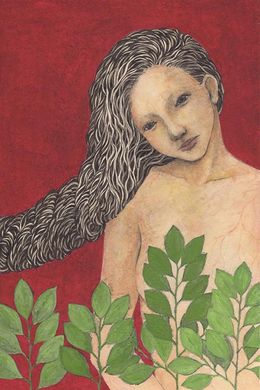 「髪縄#3」2020年/和紙、墨、膠、岩絵具、顔彩/260x175mm