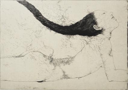 「空腹の縄#2」2012年/銅版画(エッチング、雁皮刷り)/430 x 303 mm