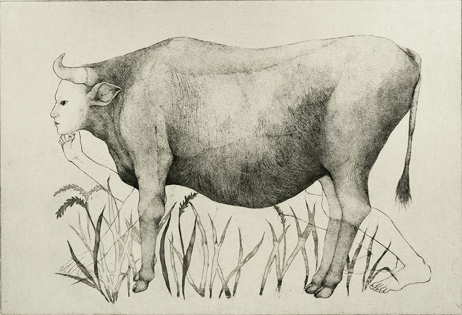 「ぼんやり立っている」2019年/銅版画(エッチング、雁皮刷り)/365x535mm