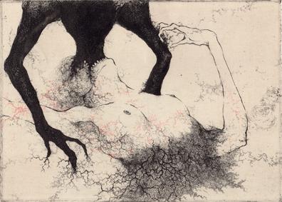 「開口の呪文」2011年/銅版画(エッチング、雁皮刷り)/140x200mm