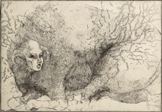 「最初で最後の一言」2014年/銅版画(エッチング、雁皮刷り)/200 x 290 mm