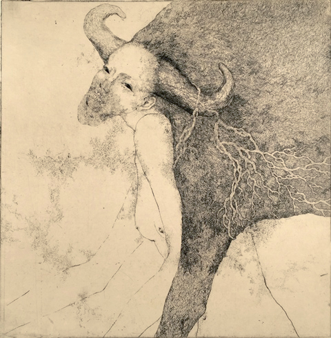 「言葉を得た牛」2015年/銅版画(エッチング、雁皮刷り)/300 x 295 mm