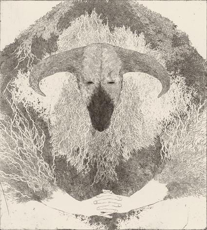 「私は言葉を持たない」2013年/銅版画(エッチング、雁皮刷り)/500 x 450 mm