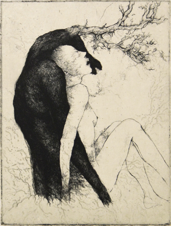 「愛と死」2013年/銅版画(エッチング、雁皮刷り)/240 x 182.5 mm