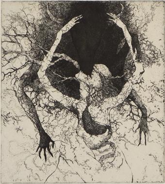 「共喰い」2011年/銅版画(エッチング、雁皮刷り)/200 x 180 mm