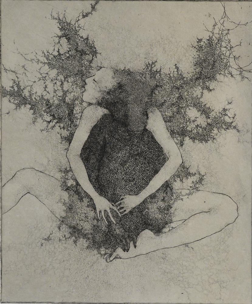 「ずっとこの場所にいたのか」2015年/銅版画(エッチング、雁皮刷り)/240 x 200 mm