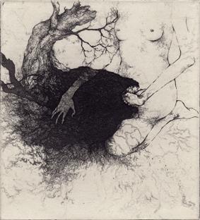 「眠り」2012年/銅版画(エッチング、雁皮刷り)/160x145mm