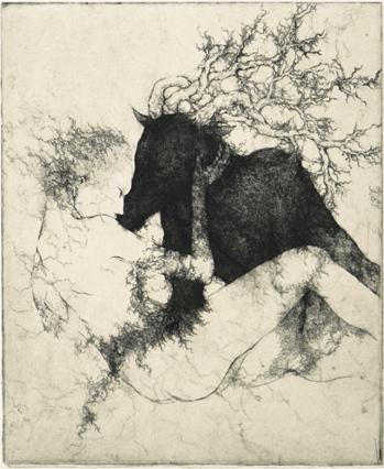 「存在の言葉」2012年/銅版画(エッチング、雁皮刷り)/245 x 200 mm