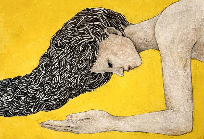 「髪縄#1」2020年/パネルに和紙、墨、岩絵具/SM