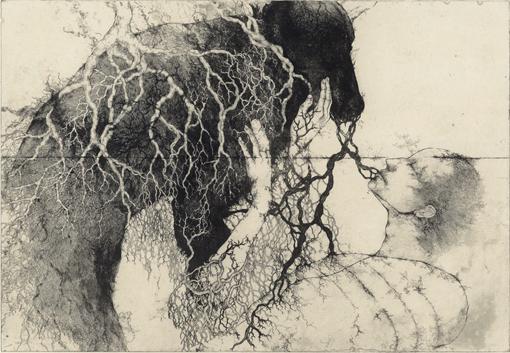 「来世で言葉がつかえるように」2010年/銅版画(エッチング、雁皮刷り)/640 x 930 mm