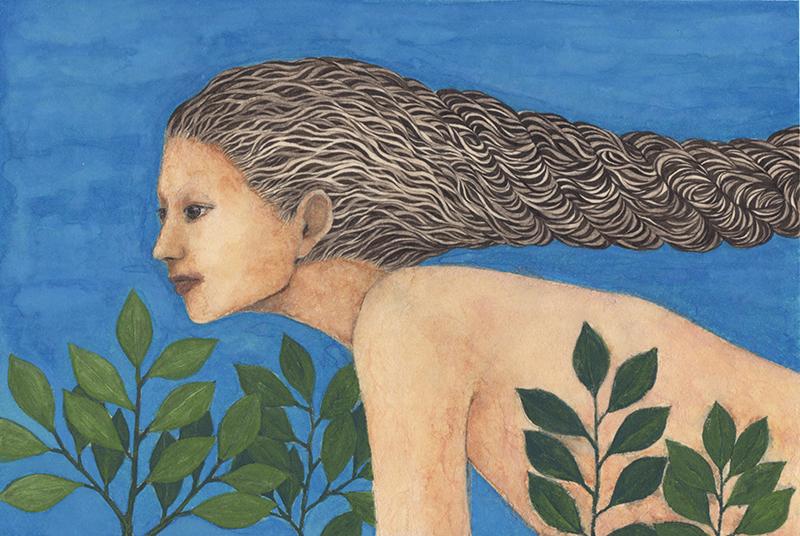 「髪縄#2」2020年/和紙、墨、膠、岩絵具、顔彩/175x260mm