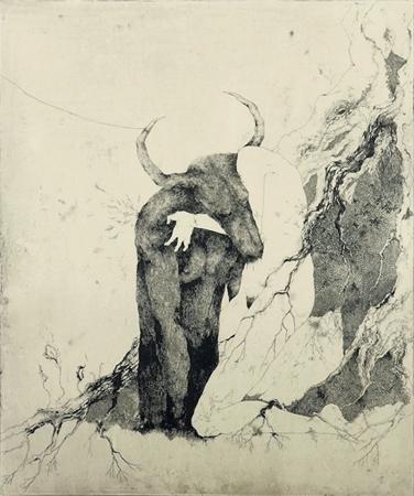 「朽ち果てる、その前に」2008年/銅版画(エッチング、雁皮刷り)/800 x 670 mm