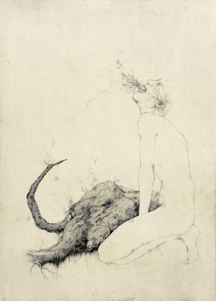 「罪深きことは何だか知っている-Requiem-」2008年/銅版画(エッチング、雁皮刷り)/800 x 560 mm